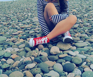 beach, converse, and girl image