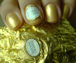 ferrero rocher, nails, and gold image