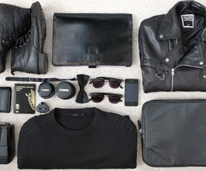black, packing, and travel image