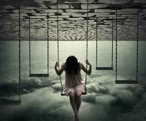 swing, sky, and clouds image