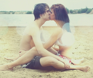 beach, kiss, and touch image