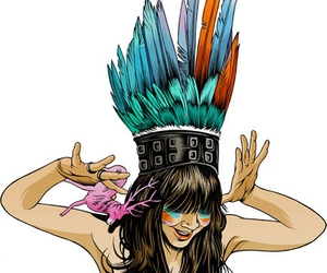 illustration, bat for lashes, and feathers image