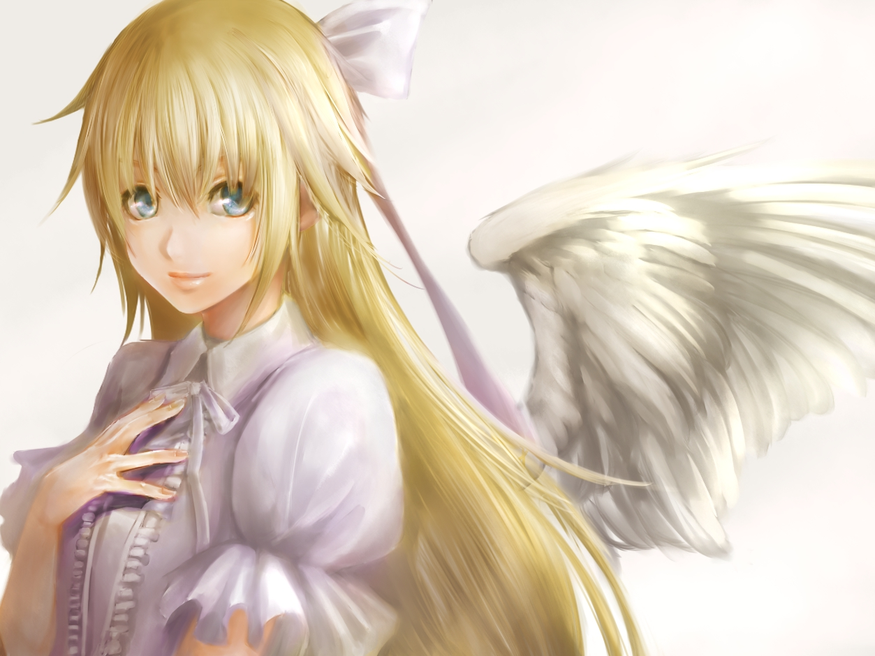 angel blonde hair blue eyes roze wings  konachan.net - Konachan