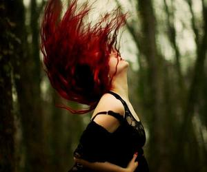 girl, dark, and red hair image