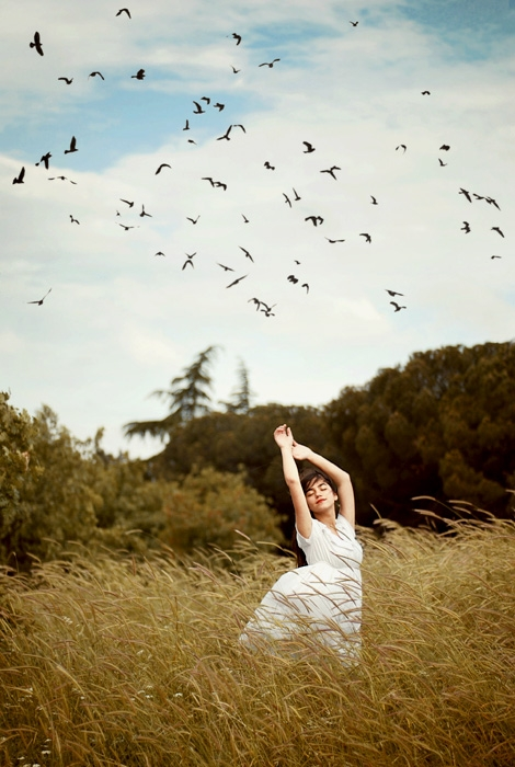 girl and birds image