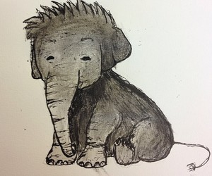 drawn, elephant, and little image