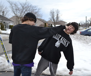 boys, snow, and photography image