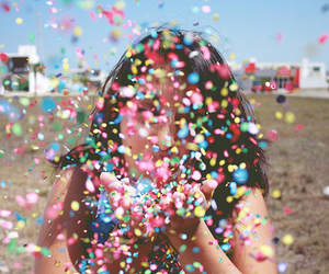 girl, confetti, and colorful image