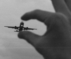 airplane, black and white, and hipster image