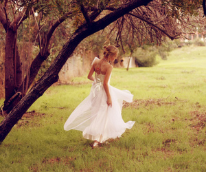 girl, dress, and tree image