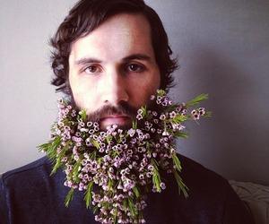 flowers, beard, and boy image