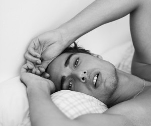 bed and hot guy image