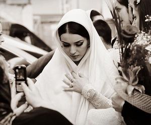 black and white, bride, and dark hair image