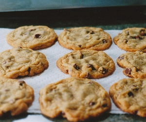 baking, chocolate, and chocolate chip cookies image