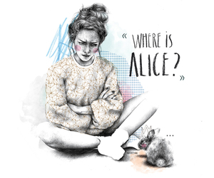 alice, bunny, and drawing image