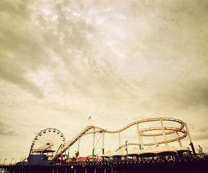 cloudy, park, and Roller Coaster image