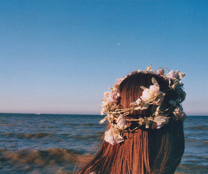 girl, flowers, and sea image
