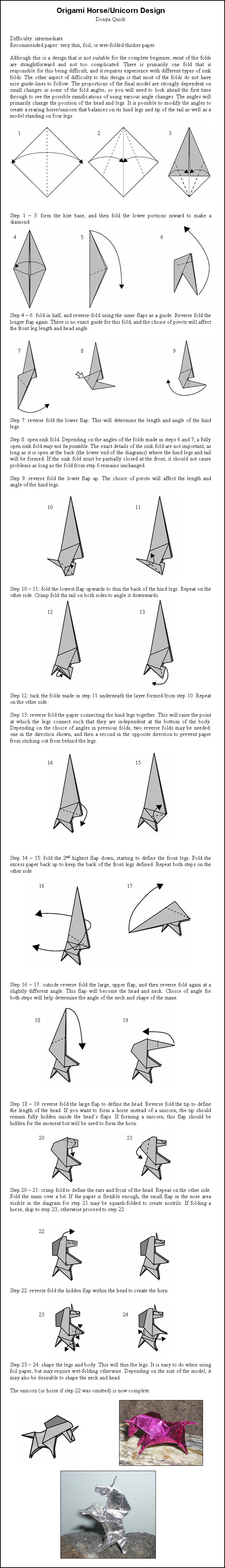 Origami Unicorn Tutorial - Paper Kawaii | 4481x644