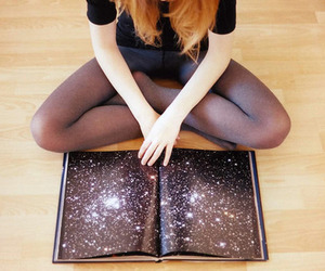 book, girl, and space image