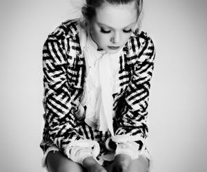 black, black and white, and Elle Fanning image