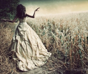 girl, dress, and field image
