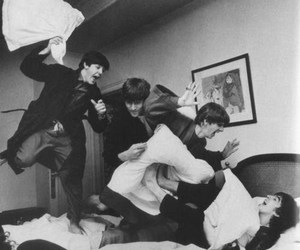 beatles, black white, and friendship image