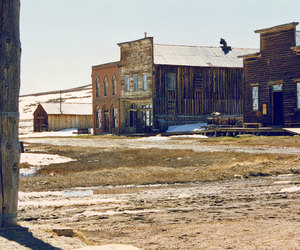 buildings, ghost town, and landscape image
