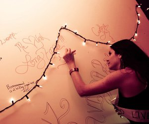 christmas lights, girl, and graffiti image