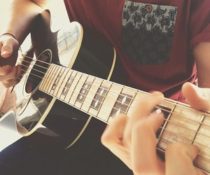 guitar, hands, and ilove image