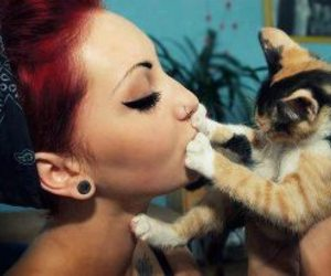cat, girl, and red hair image