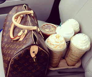 starbucks, bag, and Louis Vuitton image