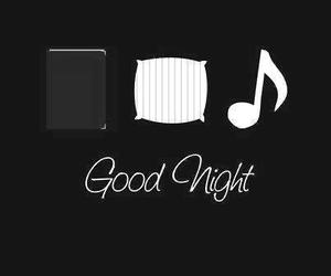 book, good night, and music image