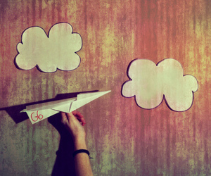 clouds, airplane, and Paper image