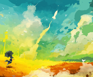 art, colors, and sky image