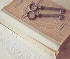book, key, and dreamy image