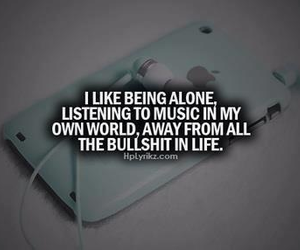 music, quote, and alone image
