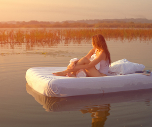 bed, boat, and long hair image