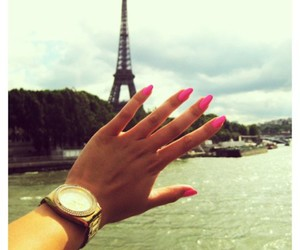 eiffel tower, gold, and love love love image