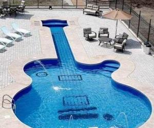 guitar, pool, and summer image