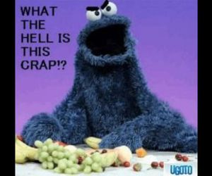 funny, cookie monster, and fruit image