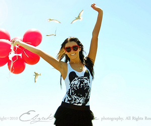 balloons, girl, and glasses image