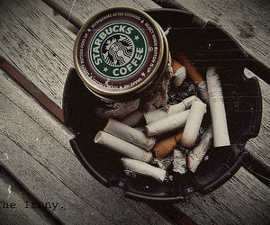 cigarette and starbucks image