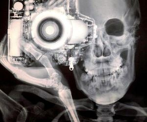 photography, camera, and skull image