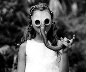 black and white and gas mask image