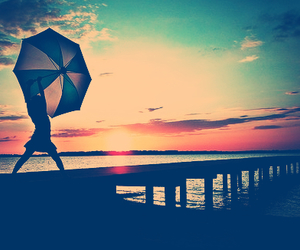 girl, umbrella, and sunset image