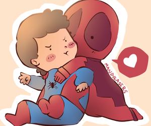 babies, deadpool, and spiderman image