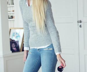 jeans, blonde, and fashion image