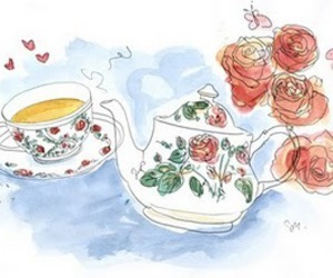 tea, flowers, and rose image