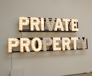 lights, private property, and typography image