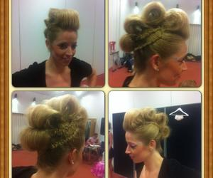 blonde, updo, and curls image